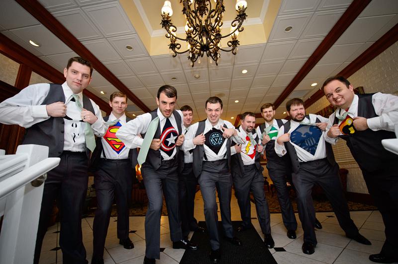 groomsmen as superheros