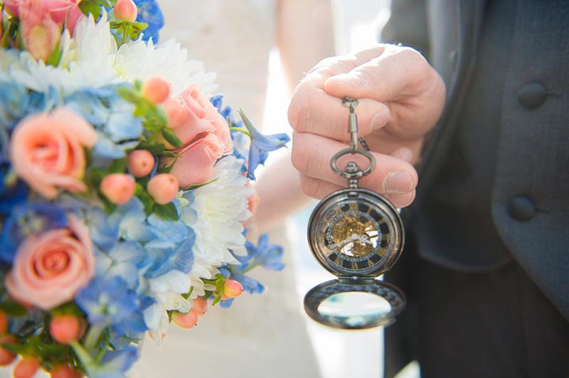 wedding bouquet and timepiece