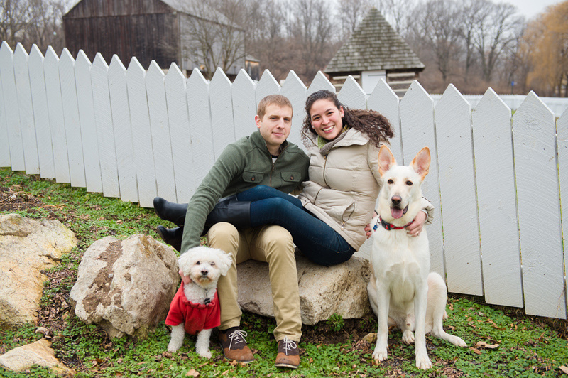happy couple with dogs